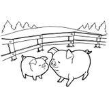 La coloritura del fumetto del maiale impagina il vettore Fotografie Stock
