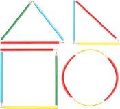 La coloritura disegna a matita le forme della geometria Fotografia Stock Libera da Diritti
