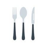 La coltelleria ha messo con l'illustrazione di vettore della forchetta, del coltello e del cucchiaio royalty illustrazione gratis