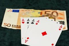 La combinaison de quatre as se trouvant sur des billets de banque Photo libre de droits