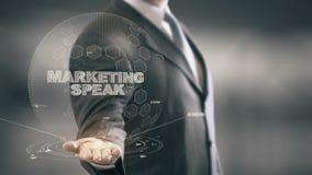 La comercialización habla con concepto del hombre de negocios del holograma libre illustration