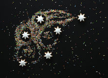 La cometa dei biscotti e della caramella di Natale ha colorato la guarnizione Fotografie Stock