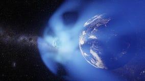 La cometa vola verso i movimenti della macchina fotografica e della terra tramite la sua coda illustrazione di stock