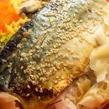 La comida asada a la parrilla deliciosa del japonés del arroz de los pescados del saba Fotografía de archivo