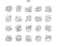 La comida Bien-hizo la línea fina rejilla 2x de los iconos 30 del vector a mano perfecto del pixel para los gráficos y Apps del w Foto de archivo libre de regalías