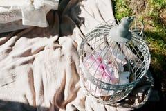 La comida campestre adornó la jaula de pájaros en hierba cerca de la tabla Fotos de archivo
