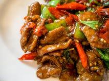La comida china sofrió el pato con albahaca y pimientas verdes y rojas imágenes de archivo libres de regalías
