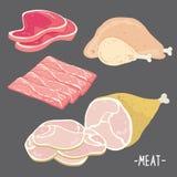 La comida de la carne come vector crudo fresco de la historieta de la rebanada del pedazo del pollo del tocino del cerdo de la ca Foto de archivo libre de regalías