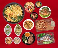 La comida es sagrada en el Año Nuevo chino, tal como pescados, cerdo, shri Fotografía de archivo