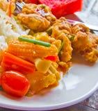 La comida fría y el arroz vegetarianos. Fotos de archivo