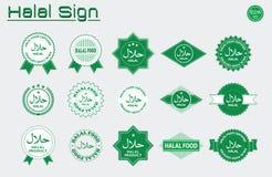 La comida Halal etiqueta el SE stock de ilustración