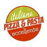 La comida italiana firma adentro apariencia vintage stock de ilustración