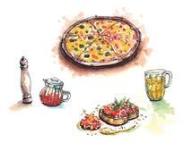 La comida italiana, pizza, anitipasto, pimienta, chile engrasa el ejemplo de color de agua de la cerveza libre illustration