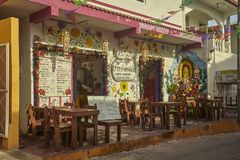 La Comida Mexicana. View of a small typical Mexican restaurant in Isla Mujeres in Mexico stock images