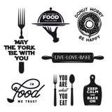 La comida relacionó el sistema de la tipografía Citas sobre cocinar Ejemplo del vector del vintage libre illustration
