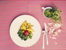 La comida sana - comida vegetariana con espinaca, las patatas y él Fotos de archivo libres de regalías