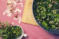 La comida sana - comida vegetariana con espinaca, las patatas y él Foto de archivo