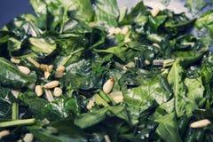 La comida sana - comida vegetariana con espinaca, las patatas y él Fotografía de archivo libre de regalías