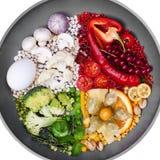 La comida se descompuso por el color, comidas rojas, blanco, verde, amarillo, concepto creativo Imagen de archivo