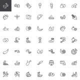 La comida y los bocados alinean el sistema de los iconos stock de ilustración