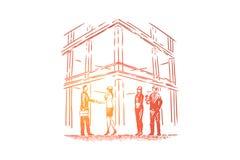 La comisión del control de seguridad, el examen acertado, el capataz, el arquitecto y el inspector en cascos sacuden las manos libre illustration
