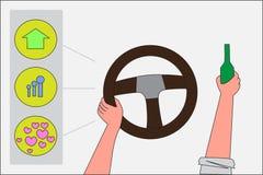 La commande d'homme une voiture le choix est maison ou partie Coffre-fort pour conduire les concepts et la bande dessinée plate Photographie stock libre de droits