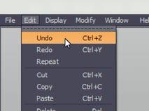 La commande de menu de logiciel avec défont la commande d'annulation image stock