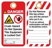 La commande par courroie d'enchevêtrement de main de risque d'écrasement de danger n'actionnent pas cet équipement est verrouillé illustration libre de droits