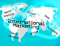 La commercializzazione a livello internazionale indica attraverso The Globe e la globalizzazione Immagine Stock