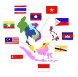 La communauté économique d'ASEAN, l'AEC Images stock