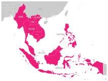 La communauté économique d'ASEAN, l'AEC, carte Carte grise avec les pays membres accentués roses, Asie du Sud-Est Illustration de Photos libres de droits
