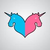 La communauté de symbole de la licorne LGBT Signe d'animal d'amour et de magie deux illustration libre de droits