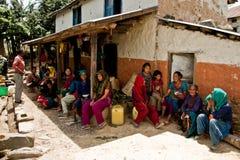 La Communauté du village de Chhaimale, 29km au sud de Katmandou, le Népal Image libre de droits