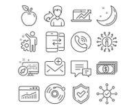 La communication de disque vinyle, de téléphone et les ventes diagram des icônes Les statistiques, le commentaire et l'enquête de illustration de vecteur