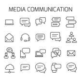 La communication de media a rapporté l'ensemble d'icône de vecteur illustration de vecteur