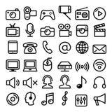 La communication, media, ligne moderne icône de Web de technologie a placé - le grand paquet illustration stock