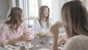 La compañía de amigos se reunió en un café y una charla, chisme, risa almacen de metraje de vídeo