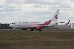 La compañía Air Algerie de Boeing 737-800 (7T-VKA) aterrizó en el aeropuerto de Sheremetyevo moscú Foto de archivo libre de regalías
