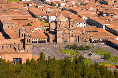 La Compania and Cathedral at Plaza de Armas in Cuzco royalty free stock photos