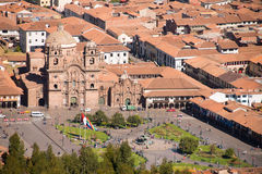 La Compania at Plaza de Armas in Cuzco stock photo