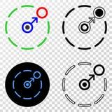 La composición de Gradiented punteó movimiento de circundar perímetro y el sello de Grunged stock de ilustración