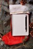 La composición de un calcetín y de un abeto rojos de la Navidad ramifica Foto de archivo