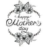 La composición de un día de madre feliz con las anémonas, las rosas y las hojas stock de ilustración