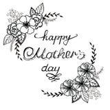 La composición de un día de madre feliz con las anémonas, las rosas y las hojas Guirnalda del vintage con caligrafía de la mano ilustración del vector