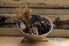 La composición de una placa de metal llenó de los conos del pino y marchitó las flores Foto de archivo