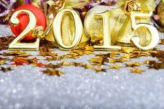 La composición del Año Nuevo con oro numera 2015 años Imagen de archivo libre de regalías