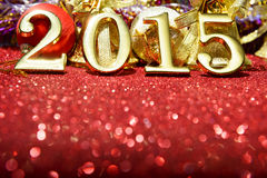 La composición del Año Nuevo con oro numera 2015 años Fotos de archivo libres de regalías
