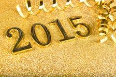 La composición del Año Nuevo con oro numera 2015 años Fotografía de archivo