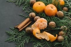 La composición del Año Nuevo de la Navidad con los conos del pino de las mandarinas pone verde el canela nuts en la decoración ne Foto de archivo libre de regalías