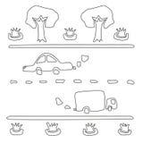 La composición del coche, del camino, de los árboles y de los macizos de flores Imágenes de archivo libres de regalías